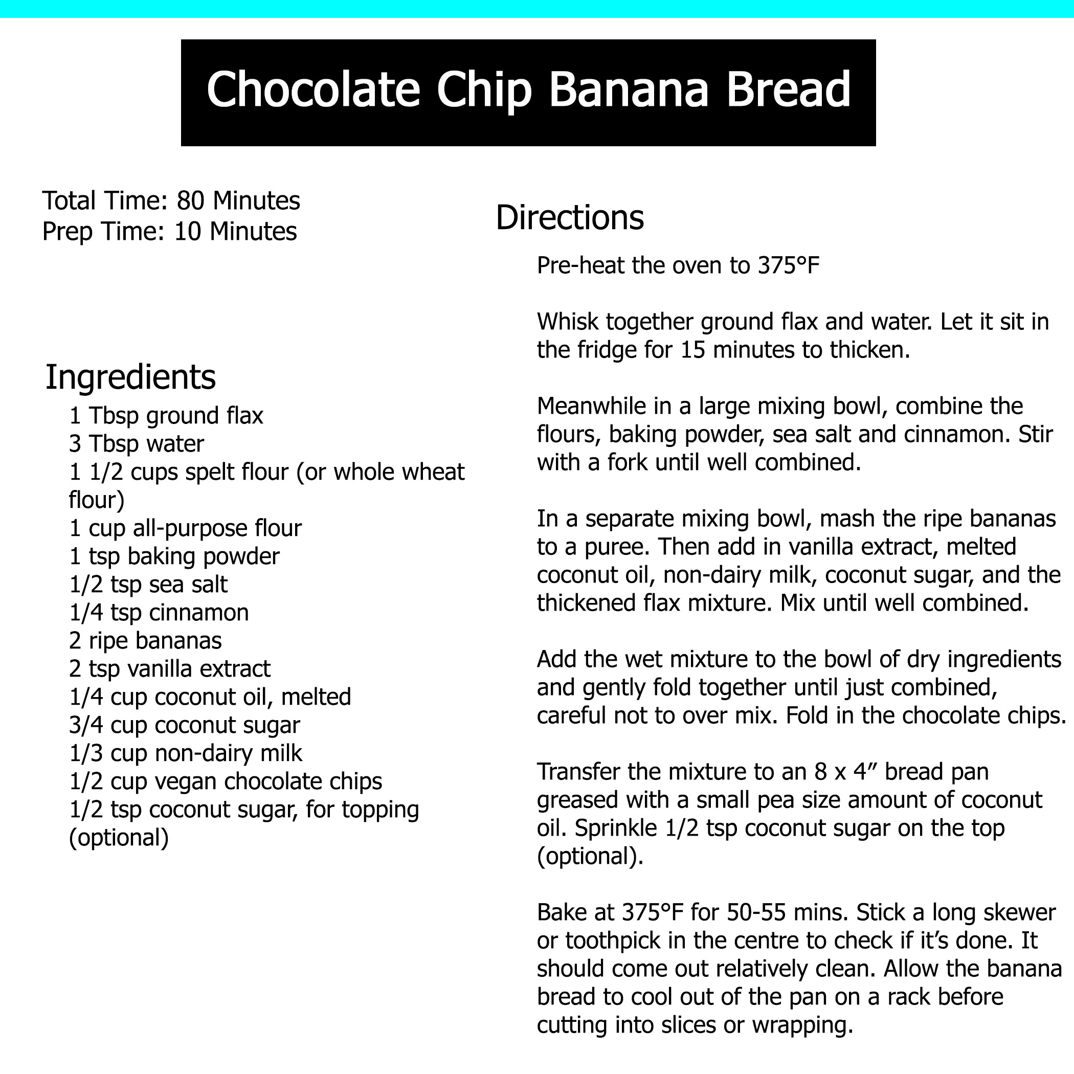 recipe chocolate chip banana bread